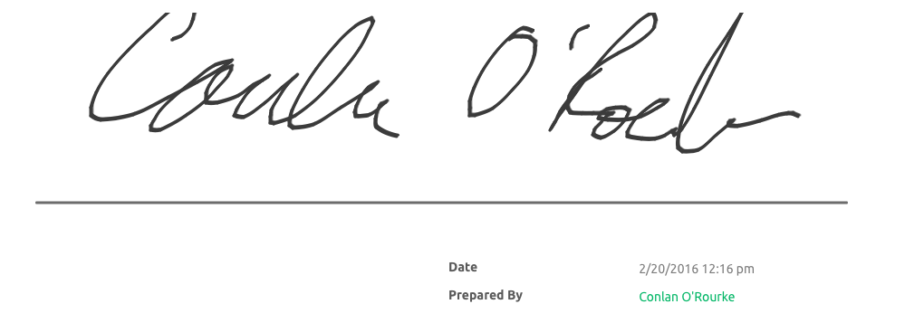 Signature Sample using finger on Mobile Device